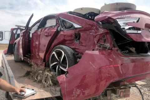 Hennessey train, car collide; driver escapes serious injury